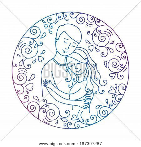 Colored  love concept isolated on a white background. Man hugging woman inside round frame with hearts and whorls. Lovers.Vector illustration.Easy to change color.