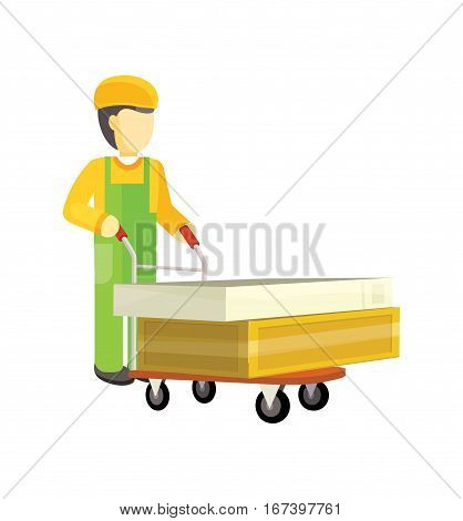 Man character in green and yellow uniform with heavy boxes on big trolley. Baying building materials in supermarket concept. Delivering overall goods. Flat design illustration for ad and icons.