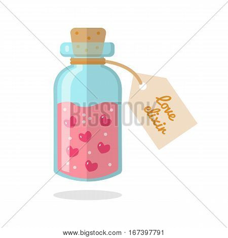 The bottle with the elixir of love isolated on white background. Flat design. Vector illustration.