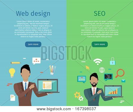 Web design, SEO infographic concept set. Man in business suit and tie with laptop on background with communication and design icons. Website development, SEO process information, design presentation