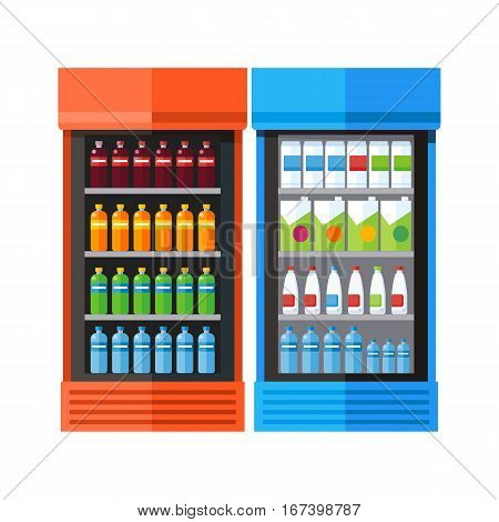 Bluea and orange showcases refrigerators for cooling drinks in bottles. Different colored bottles in drinks fridges. Fridge dispenser cooling machine. Isolated objects in flat design on white background.