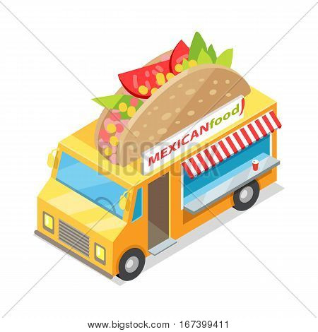 Mexican food eatery on wheels icon. Car van with tacos on roof isometric vector isolated on white background. 3d mobile cafe with bright signboard. National cuisine. For cafe, snack bar ad, apps