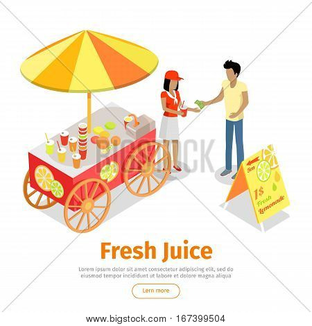 Fresh juice web banner. Street cart store on wheels with juices, seller with paper cup full of lemonade and buyer with money isometric projection vector on white background. For fast food cafe ad