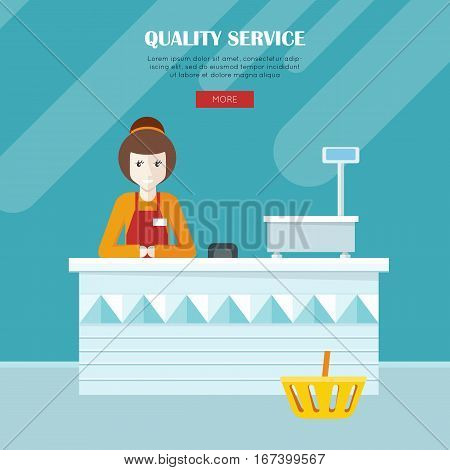 Quality service. Shop assistant sitting at the cash desk. People in supermarket interior design. Saleswomen at the counter. Mall manager near weighing-machine. Marketing, retail store. Vector