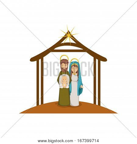 colorful image with virgin mary and saint joseph with baby in arms under manger vector illustration