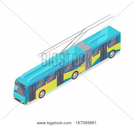 Trolleybus isometric projection icon. Blue trolley vector illustration isolated on white background. City ecological electric transport. For game environment, transport infographics, logo, web design