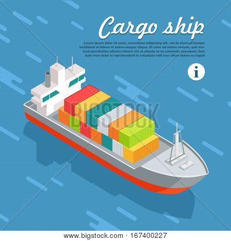 Cargo ship or container sailing in the sea. Multi-purpose vessel. Chemical or product tanker. Custom high speed picker boat. Carries cargo, goods, and materials from one port to another. Vector