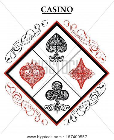 Black and Red Playing Card Ornamental. Playing Cards