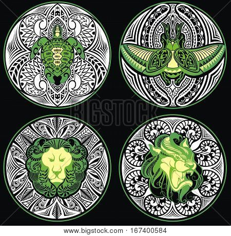 Tribal Amulets for your design .Turtle. Dragon.Lion.Scarab