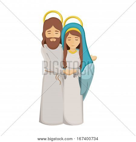 colorful image with virgin mary and jesus embraced vector illustration