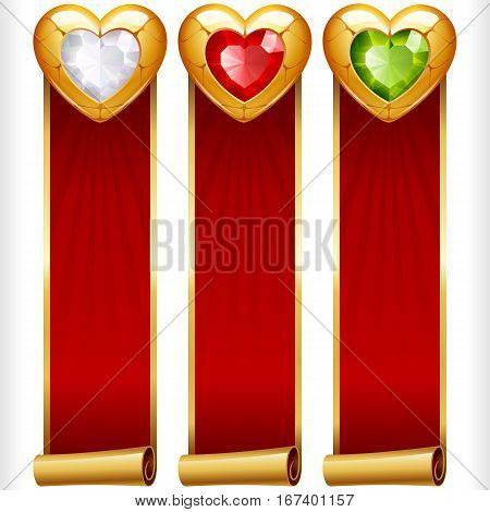 Golden Gem Hearts and Red Ribbons vertical Banners set. Valentines Day, Wedding celebration or Romantic Lovely Frames Design isolated on white background. Vector Illustration
