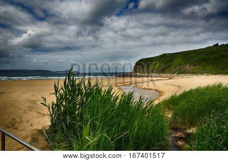 Ocean coast in the north west of Spain, Galicia region, Esteiro beach