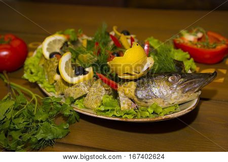 Stuffed Pike With Vegetables And Herbs.