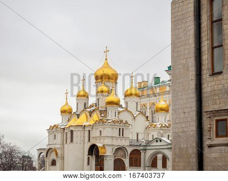 Orthodox Church in the Moscow Kremlin. Cathedral of the Annunciation in winter. January 3 2017.