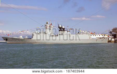 NOVOROSSIYSK, RUSSIA:  MAY 9, 2015-Missile frigates naval forces of the Republic of China