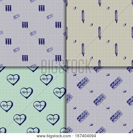 Healthcare and medicine. Vector doodle seamless pattern set with thermometer, heart, test tubes, plaster and pills. Medical hand drawn icons on checkered background.