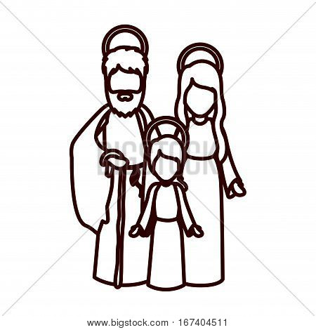 monochrome contour with jesus child and virgin mary and saint joseph vector illustration