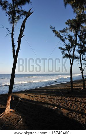 Beach with Dark Sand of The Reunion Island in the Morning Light with shadows