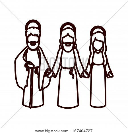 monochrome contour with jesus and virgin mary and saint joseph holding hands vector illustration