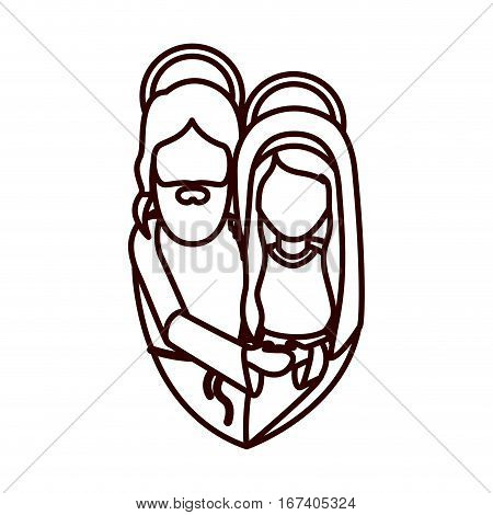 monochrome contour with half body of virgin mary and jesus embraced vector illustration