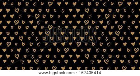 Seamless hand drawn golden hearts on black background. Love concept. Heart pattern for printables, scrapbooking, wrapping paper, wedding invitations. Vector illustration.