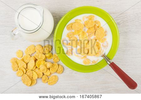Corn Flakes With Milk In Green Bowl, Jug
