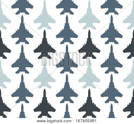Seamless pattern with jet fighters. Can be used for graphic design, textile design or web design.