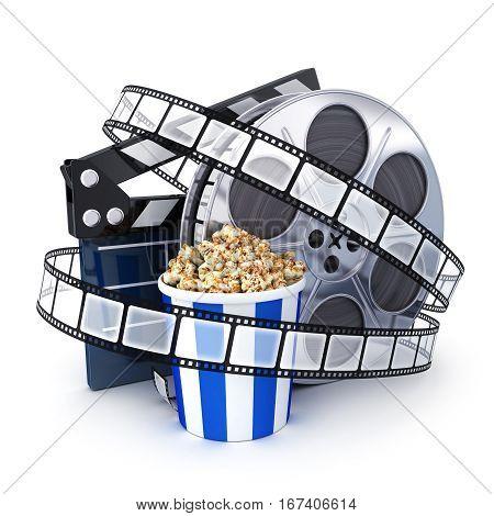 Spool film clipboard and popcorn. 3d illustration