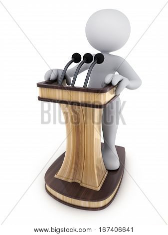 Abstract men and podium on white background. 3d illustration