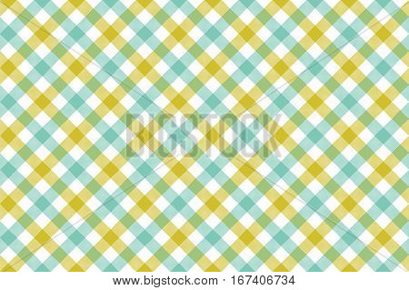 Green blue check diagonal fabric texture background seamless pattern. Vector illustration. EPS 10.