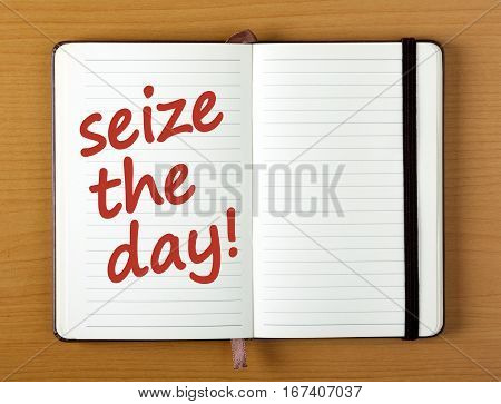 An open notebook or journal with the words Seize The Day added in red text as a reminder to grab opportunity with both hands
