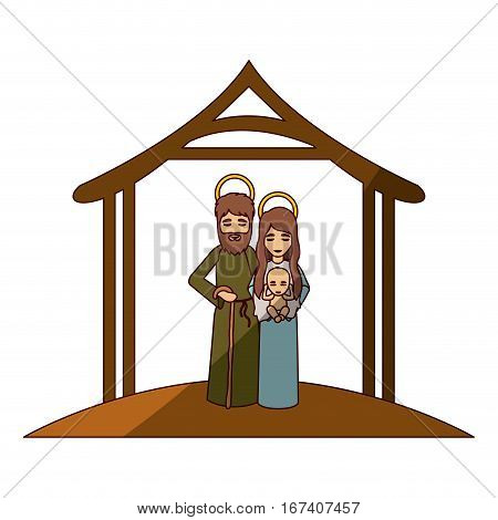 colorful image with saint joseph and virgin mary with baby in arms under manger and middle shadow vector illustration