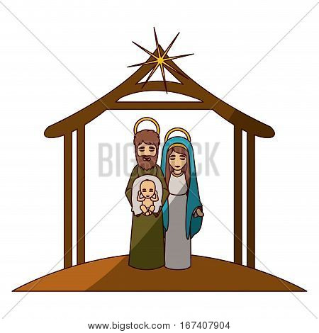 colorful image with virgin mary and saint joseph with baby in arms under manger and middle shadow vector illustration