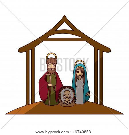 colorful image with virgin mary and saint joseph and jesus in crib under manger and middle shadow vector illustration