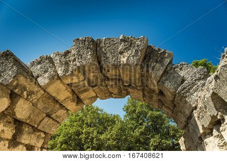 Entrance Arch in Olympia - Sanctuary of ancient Greece, Peloponnese