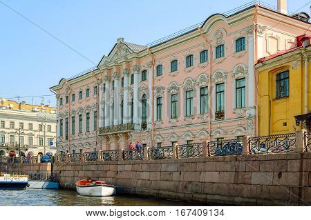 Saint-Petersburg, Russia - May 13, 2006: Palace of Stroganov on Nevskiy prospectus, built in 1754, architect Rastrelli