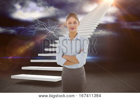Elegant businesswoman with arms crossed in office against thunderstrom over landscape 3d