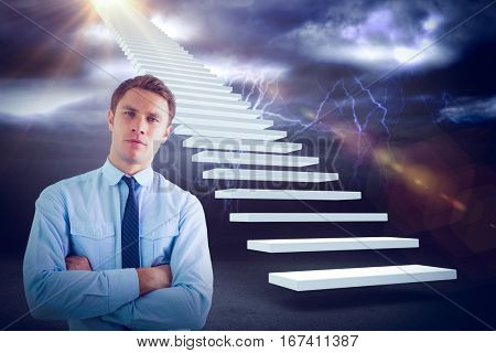 Elegant businessman with arms crossed in office against lightning with clouds 3d