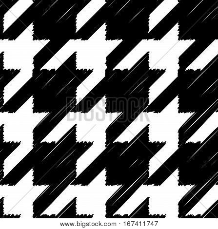 Seamless geometric pattern. Classic Hounds-tooth pattern in doodles style