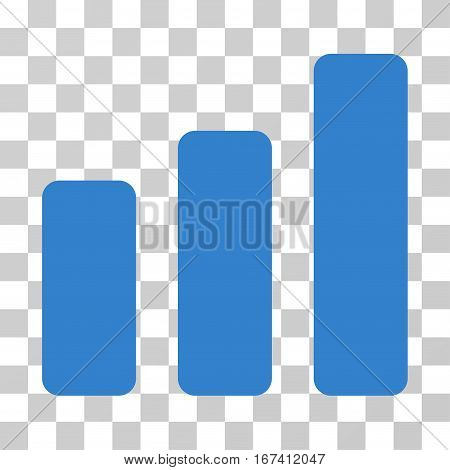 Bar Chart Increase vector icon. Illustration style is flat iconic cobalt symbol on a transparent background.
