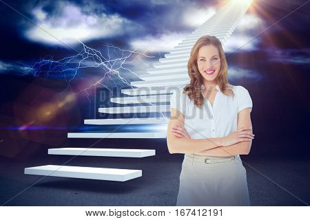 Smiling businesswoman with arms crossed against blinds against thunderstrom over landscape 3d