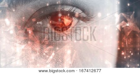 Abstract background against close up of gray eye