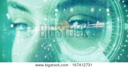 Digital composite of volume knob with graphs against beautiful eye of woman