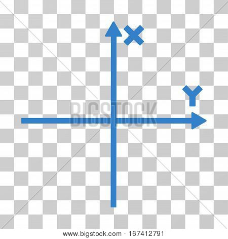 Cartesian Axes vector pictograph. Illustration style is flat iconic cobalt symbol on a transparent background.