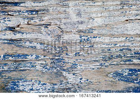 Old weathered blue grey painted  wood background, peeling off