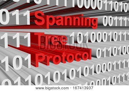 Spanning Tree Protocol in the form of binary code, 3D illustration