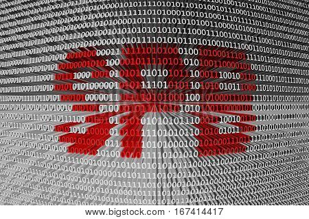 SPB in a binary code 3D illustration