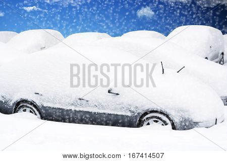 Multiple parked cars covered by snow during a snowstorm