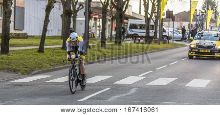 Conflans-Sainte-HonorineFrance-March 62016: The Dutch cyclist Jos van Emden of Lotto NL-Jumbo Team riding during the prologue stage of Paris-Nice 2016.