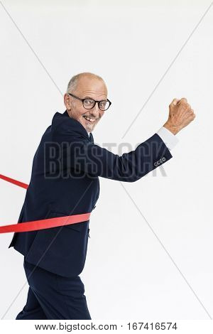 Man Crossing Line Tape Concept